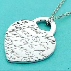 Large Tiffany Love Notes Heart Pendant Necklace
